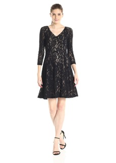 NYDJ Women's Amelia Lace Fit and Flare Dress with Slimming Fit Solution
