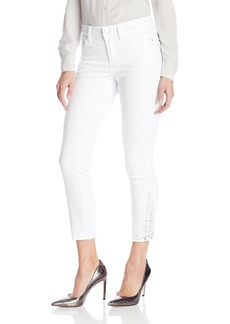 NYDJ Women's Amira Fitted Ankle Jeans In Bull Denim with Rhinestone Hem Detail  18