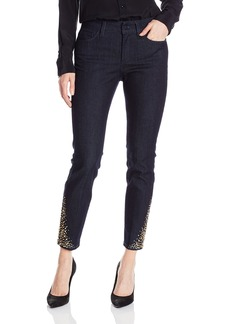 NYDJ Women's Amira Fitted Ankle Jeans In Core Indigo Denim with Rhinestone Hem Detail