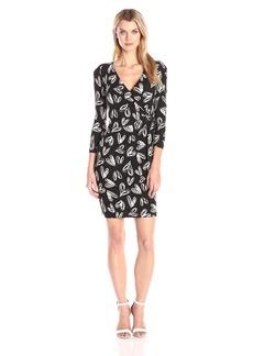 NYDJ Women's Antoinette Printed Jersey Faux Wrap Fitted Sheath Dress