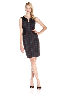 NYDJ Women's Aubrey Printed Plaid Ponte Dress