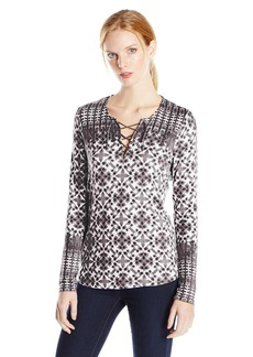 NYDJ Women's Batik Printed Long Sleeve Knit Lace up Top