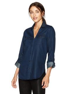 NYDJ Women's Chambray Denim Shirt Dark wash
