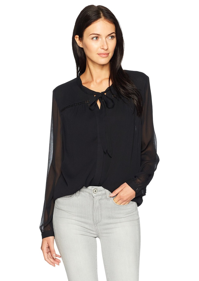 Nydj Nydj Womens Chiffon Tie Neck Blouse Dress Shirts
