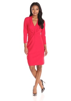 NYDJ Women's Christa Knotted Stretch Crepe Fitted Sheath Dress with Slimming Fit Solution