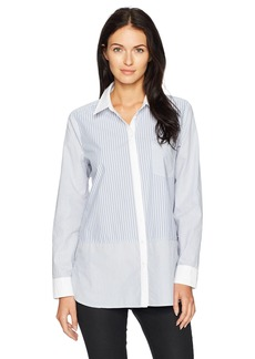 Not Your Daughter's Jeans NYDJ Women's Cotton Poplin Mixed Stripe Blouse aviary Blue Stripe/Prussian Navy