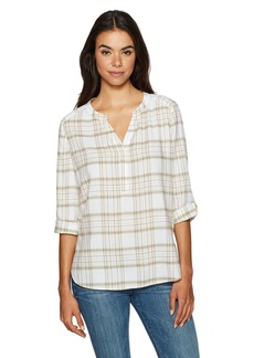 Not Your Daughter's Jeans NYDJ Women's Cotton Voile Plaid Henley Blouse