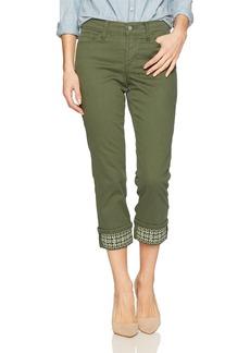 NYDJ Women's Dayla Wide Cuff Capri Jeans Topiary-Embroidered