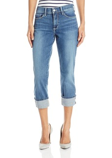 NYDJ Women's Dayla Wide Cuffed Capri Jeans In Stretch Indigo Denim  2