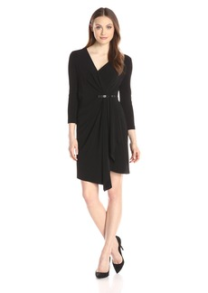 NYDJ Women's Dianne Lux Matte Jersey Draped Dress with Fit Solution