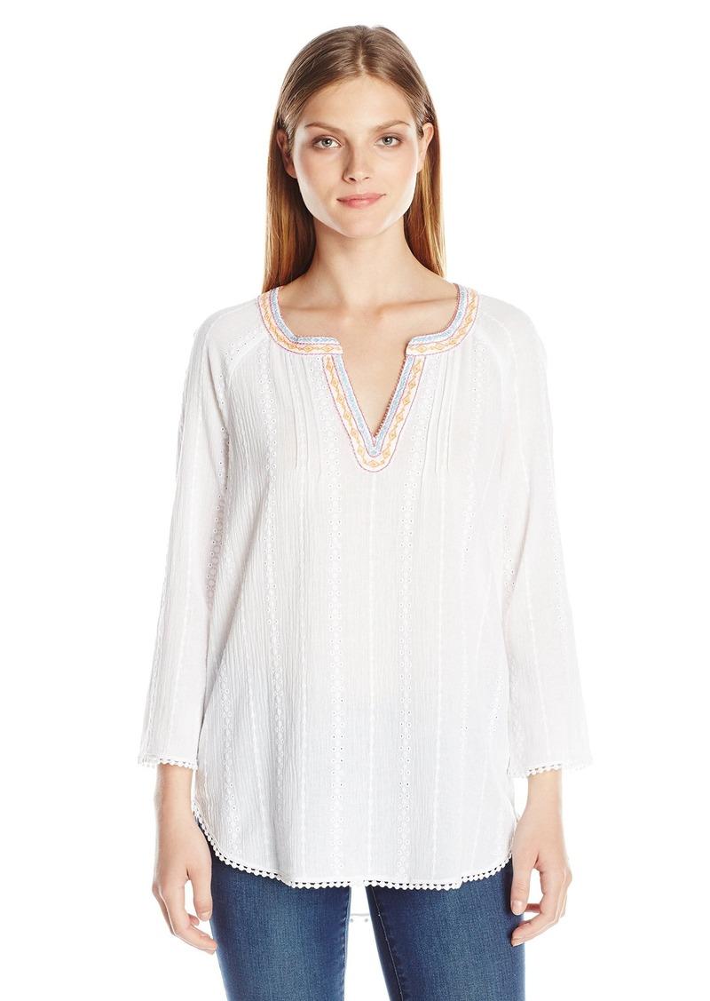 NYDJ Women's Embellished Cotton Gauze Blouse  Small