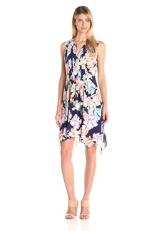 NYDJ Women's Flora Printed Georgette Fit and Flare Dress with Slimming Fit Solution