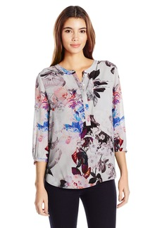 Not Your Daughter's Jeans NYDJ Women's Floral 3/4 Sleeve Henley Pleat Back Blouse