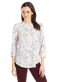 Not Your Daughter's Jeans NYDJ Women's Floral 3/4 Sleeve Henley Pleat Back Blouse  Medium