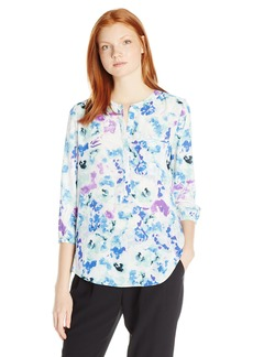 Not Your Daughter's Jeans NYDJ Women's Floral 3/4 Sleeve Henley Pleat Back Blouse  X-Small