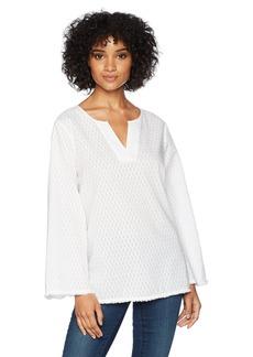 NYDJ Women's Fray Edge Bell Sleeve Popover  S