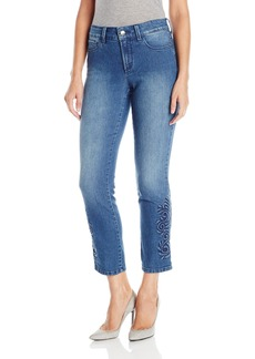 NYDJ Women's Ira Relaxed Ankle Jeans with 3-D Outseam Embroidery