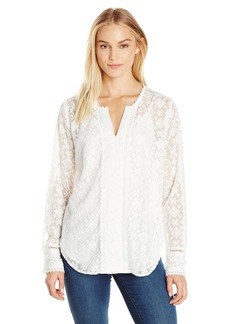 Not Your Daughter's Jeans NYDJ Women's Irina Embroidered Lace Blouse Sugar