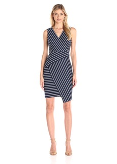 NYDJ Women's Karly Striped Ponte Fitted Sheath Dress with Slimming Fit Solution