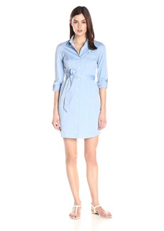 NYDJ Women's Kaylin Chambray Shirt Dress with Detachable Fit Solution