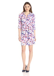 NYDJ Women's Kelsie Printed Shirt Dress with Detachable Fit Solution