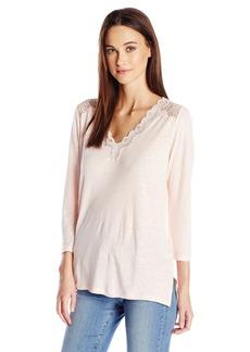 NYDJ Women's Lace Trim V-Neck Knit Top