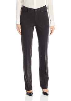 NYDJ Women's Marilyn Straight Ponte Knit Pants with Faux Leather Trim