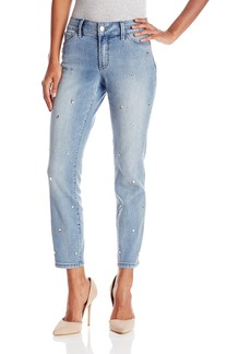NYDJ Women's Nichelle Ankle Jeans In Core Indigo Denim with Chunky Bling