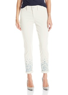 NYDJ Women's Nina Rolled Cuff Ankle Jeans in Chino Twill with Embroidery