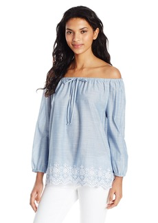 NYDJ Women's Off The Shoulder Blouse with Embroidery Detail