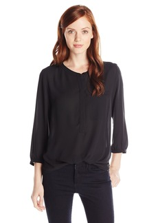 Not Your Daughter's Jeans NYDJ Women's Petite 3/4 Sleeve Henley Pleat Back Blouse  Large/Petite