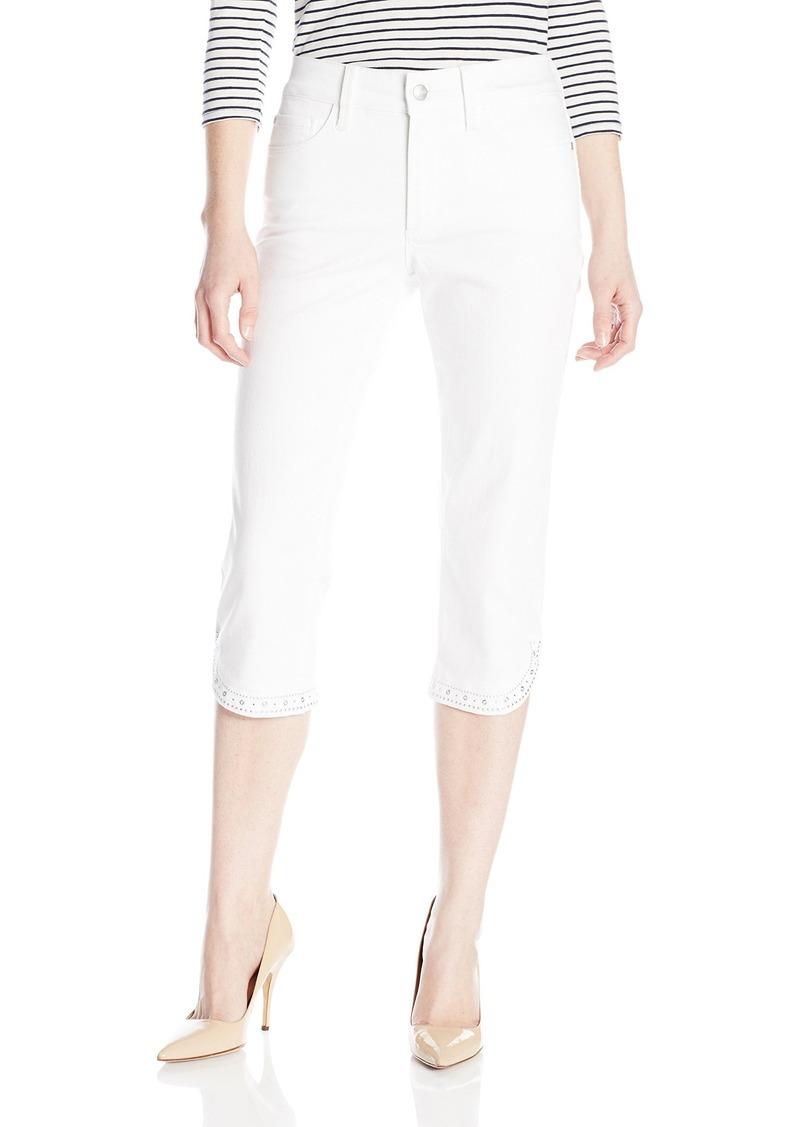 NYDJ Women's Petite Ariel Crop Jeans with Embellished Curved Hem