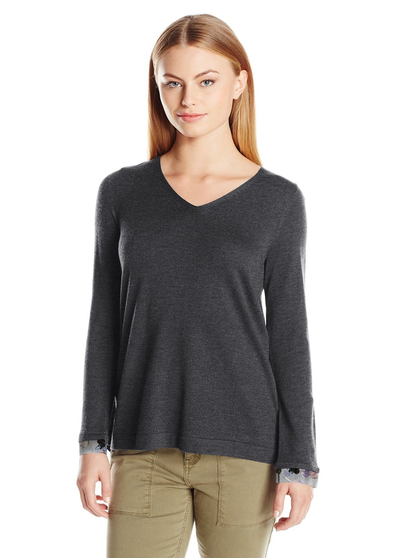 NYDJ Women's Petite Mixed Media V-Neck Sweater with Overlapped Back  Small/Petite