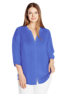 Not Your Daughter's Jeans NYDJ Women's Plus Size 3/4 Sleeve Pintuck Blouse