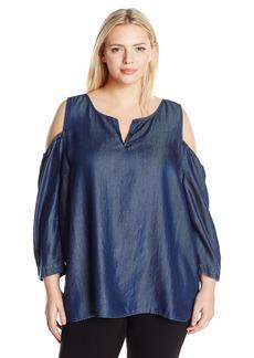 NYDJ Women's Plus Size Agnes Cold Shoulder Top