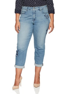 Not Your Daughter's Jeans NYDJ Women's Plus Size Boyfriend Jean With Floral Embroidery