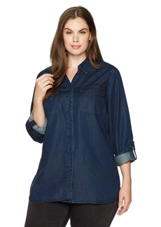 Not Your Daughter's Jeans NYDJ Women's Plus Size Chambray Denim Shirt