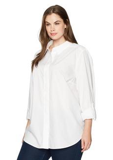 Not Your Daughter's Jeans NYDJ Women's Plus Size Cotton Poplin Wide Placket Blouse