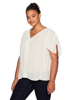 NYDJ Women's Plus Size Flutter Sleeve Top