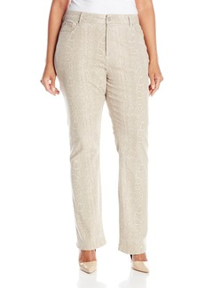 NYDJ Women's Plus-Size Marilyn Straight Jeans with Python Print