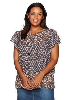 NYDJ Women's Plus Size Mixed Border Print Blouse SAHARAN coppertone