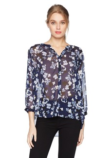 Not Your Daughter's Jeans NYDJ Women's Printed Crinkle Chiffon 3/4 Sleeve Blouse  L