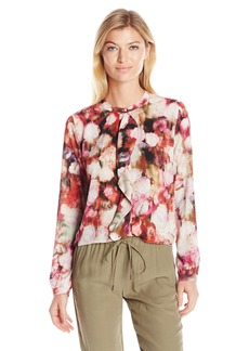 Not Your Daughter's Jeans NYDJ Women's Printed Ruffle Cascade Button Front Blouse
