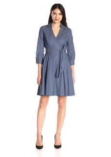 NYDJ Women's Reagan Cotton Poplin Wrap Dress with Detachable Fit Solution