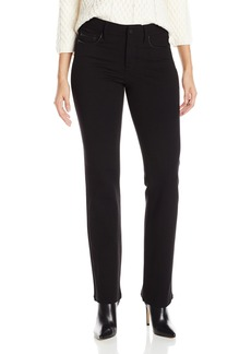 NYDJ Women's Samantha Slim Ponte Pant with Leather Trimming