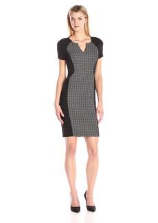 NYDJ Women's Sonya Grid Print Fitted Sheath Dress
