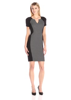 NYDJ Women's Sonya Grid Print Fitted Sheath Dress