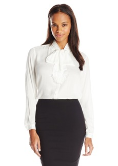 Not Your Daughter's Jeans NYDJ Women's Textured Tie Front Blouse  X-Small