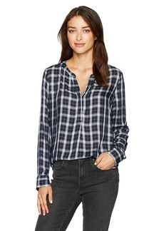 NYDJ Women's Yarn Dyed Plaid Henley Blouse