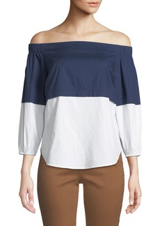Not Your Daughter's Jeans Off-The-Shoulder Colorblocked Poplin Blouse